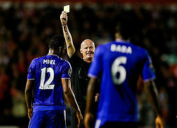 Mikel John Obi of Chelsea is shown a yellow card by referee L Mason after a handball offence - Mandatory byline: Rogan Thomson/JMP - 07966 386802 - 23/09/2015 - FOOTBALL - Bescot Stadium - Walsall, England - Walsall v Chelsea - Capital One Cup.