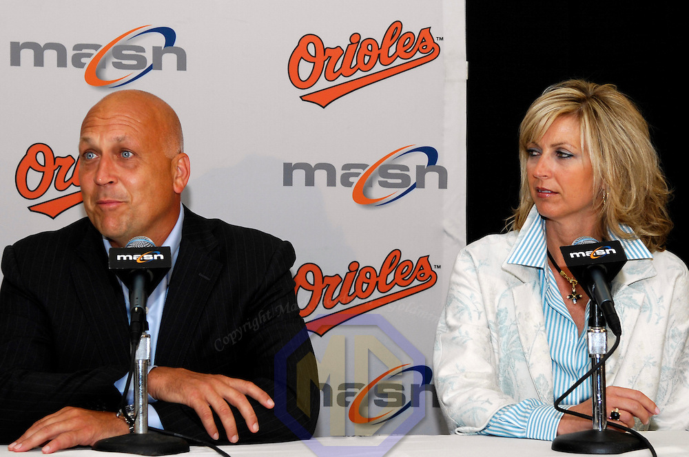 24 July 2007:  Former Baltimore Orioles player Cal Ripken, Jr. (L) speaks at a news conference joined by his wife Kelly (R) prior to the Oriole's game against the Tampa Bay Devil Rays. Ceremonies were held to honor Ripken's induction into the Hall of Fame this Sunday, July 29, 2007.  The Orioles defeated the Devil Rays 3-0 at Camden Yards in Baltimore, MD.   ****For Editorial Use Only****