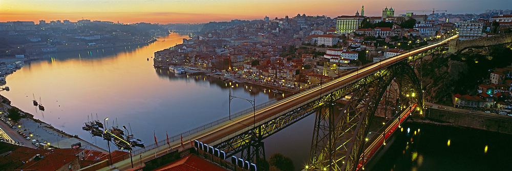 PORTUGAL, DOURO, PORTO skyline, Ponte Dom Luis, river