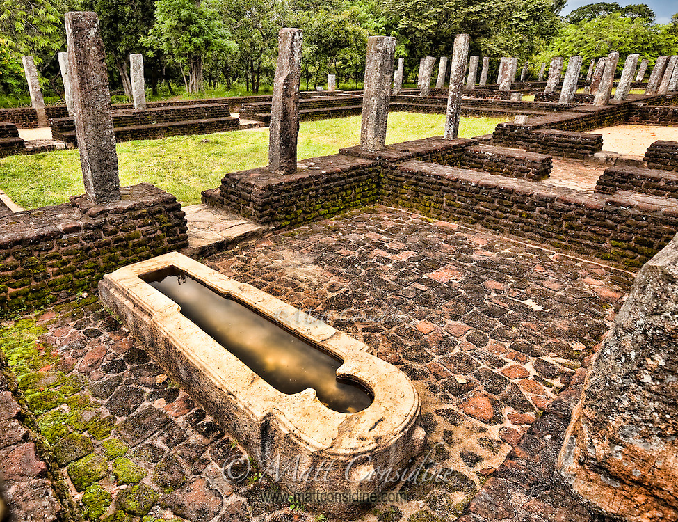 Mysterious stone bath in the grounds of the ancient hospital, likely used to immerse patients in medicinal oils.<br /> (Photo by Matt Considine - Images of Asia Collection)