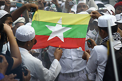 September 6, 2017 - Jakarta, Indonesia - Indonesian muslims from various organization staged a rally in front of Myanmar Embassy in Jakarta. They condemning the violation and genocides carried out by Myanmar's Government and Military to Rohingyas peoples. And in response to the action of the Myanmar government that they call as 'barbarians', the masses called the Indonesian government to expel Myanmar's Ambassador from Indonesia and cut off diplomatic ties with Myanmar. There was a clash in the action between protesters and the police as they were about to force down the Myanmar flag from embassy. (Credit Image: © Aditya Irawan/NurPhoto via ZUMA Press)