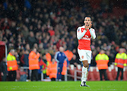 Arsenal Forward Theo Walcott applauds  the fans during the The FA Cup match between Arsenal and Sunderland at the Emirates Stadium, London, England on 9 January 2016. Photo by Adam Rivers.