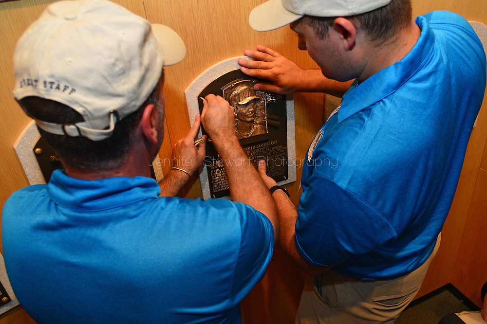 COOPERSTOWN, NY - JULY 26: Baseball Hall of Famer Randy Johnson's plaque is installed in the National Baseball Hall of Fame and Museum on July 26, 2015 in Cooperstown, NY. (Photo by Jennifer Stewart/Arizona Diamondbacks)