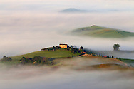 A farm house floating in a ocean of fog. Taken from the bastions of Pienza, a wonderful vantage point overlooking the rolling hills of the Orcia Valley in Tuscany, Italy, on a very foggy morning at sunrise.