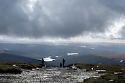 © Licensed to London News Pictures. 15/10/2016. Brecon Beacons, UK Clouds over walkers in showery weather on Fan Y Big in the `Brecon Beacons National Park. Photo credit : Stephen Simpson/LNP