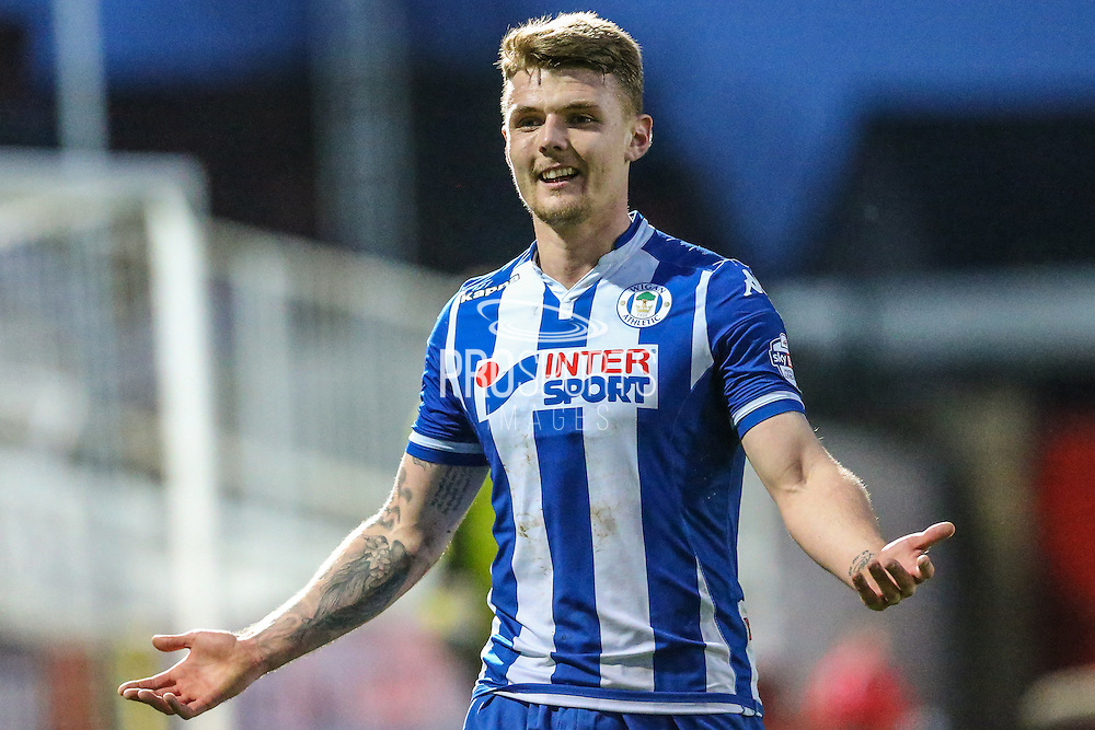 Wigan's goalscorer Max Power during the Sky Bet League 1 match between Swindon Town and Wigan Athletic at the County Ground, Swindon, England on 25 March 2016. Photo by Shane Healey.