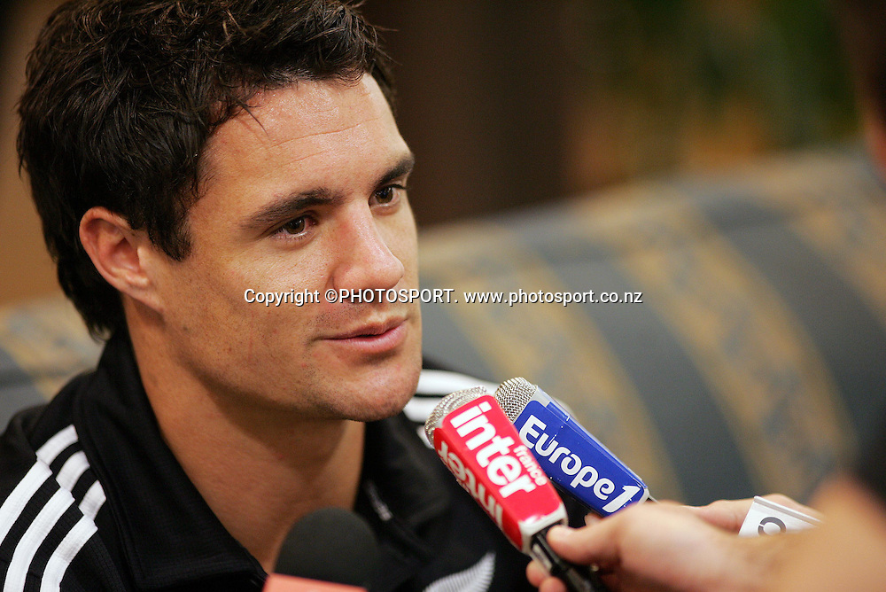 Dan Carter speaks to the media during the All Blacks media session held at the Heritage Hotel, Auckland, on Wednesday 30 May 2007. Photo: Andrew Cornaga/PHOTOSPORT