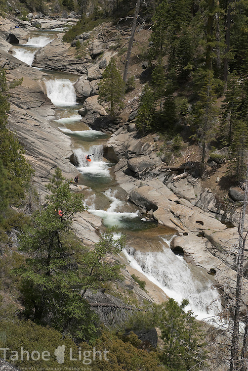 kayaking and boating the scenic granite Teacup rapids on South Silver creek near Kyberz just off highway 50 south of Lake Tahoe, Ca.