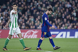 January 21, 2018 - Seville, Spain - LEO MESSI of Barcelona ( R) laments after missing a chance at goal during the La Liga soccer match between Real Betis and FC Barcelona at Benito Villamarin Stadium (Credit Image: © Daniel Gonzalez Acuna via ZUMA Wire)