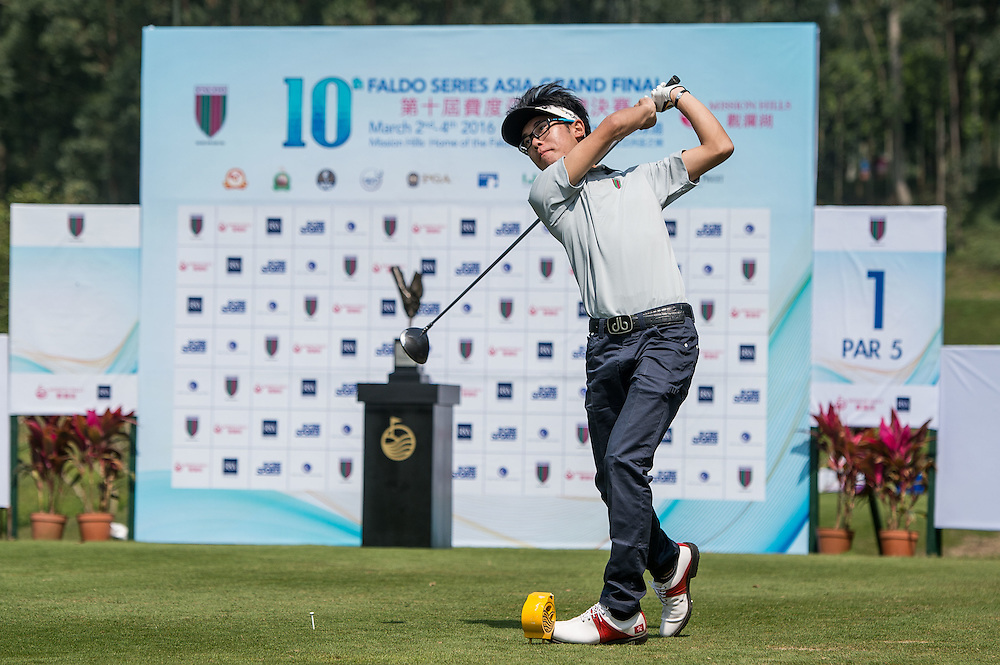 Hong Yee Leung of Hong Kong in action during day one of the 10th Faldo Series Asia Grand Final at Faldo course in Shenzhen, China. Photo by Xaume Olleros.