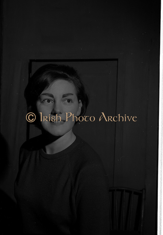 """04/03/1964<br /> 03/04/1964<br /> 04 March 1964<br /> Rehearsal of """"La Fheile Mhicil"""" at Damer Hall Theatre, Dublin for Gael Linn. """"La Fheile Mhicil"""" Eoghan O Tuairisc's Oireachtas prize-winning play was to be staged from 11th March. Image shows Treasa Ni Dhiorain who played a postulant in the play."""