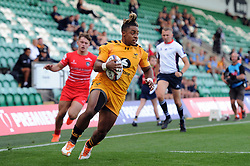 Paolo Odogwu of Wasps runs in a try against Leicester Tigers - Mandatory byline: Patrick Khachfe/JMP - 07966 386802 - 14/09/2019 - RUGBY UNION - Franklin's Gardens - Northampton, England - Premiership Rugby 7s (Day 2)