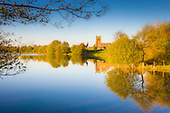 St Michael's Church, Marbury reflected in Marbury Big Mere on a frosty November afternoon.