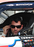 Nov. 12 2011; Avondale, AZ, USA; NASCAR Sprint Cup Series driver Tony Stewart (14) reacts in his car during qualifying for the Kobalt Tool 500 at Phoenix International Raceway. Mandatory Credit: Jennifer Stewart-US PRESSWIRE