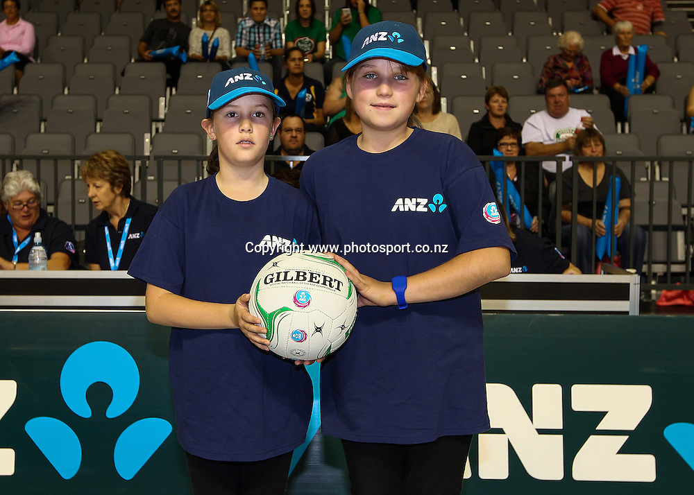 ANZ Future Captains Taylor Young aged 10 (L) and Simone Peers aged 12 (R) ahead of the ANZ Championship netball match - Waikato BOP Magic v Northern Mystics at Claudelands Arena, Hamilton, New Zealand on Saturday 20 April 2014.  Photo:  Bruce Lim / www.photosport.co.nz