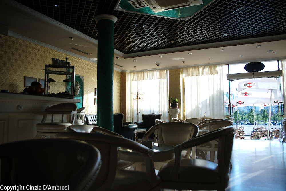 The coffee shop of the Opera house in Tirana overlooking the main square of the city.