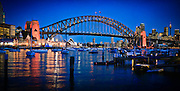 Sydney Harbour Bridge at Dusk with Opera House and CBD