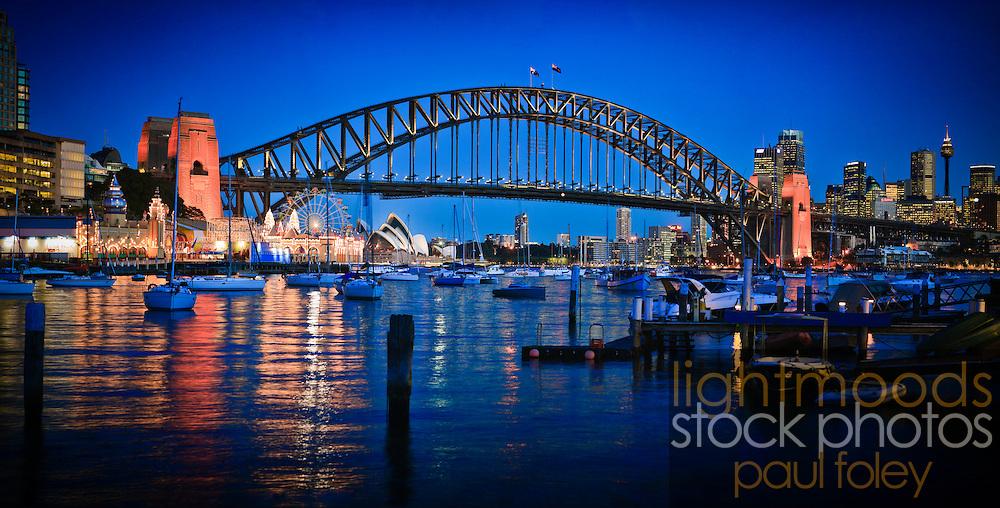 Sydney Harbour Bridge at Dusk with Opera House and CBD
