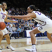 STORRS, CONNECTICUT- NOVEMBER 17: Gabby Williams #15 of the UConn Huskies and Napheesa Collier #24 of the UConn Huskies attempt to pull in a loose ball during the UConn Huskies Vs Baylor Bears NCAA Women's Basketball game at Gampel Pavilion, on November 17th, 2016 in Storrs, Connecticut. (Photo by Tim Clayton/Corbis via Getty Images)