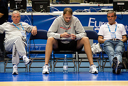Iztok Rems, Raso Nesterovic and Roman Volcic during practice session of Slovenian National basketball team at Eurobasket Lithuania 2011, on September 8, 2011, in Siemens Arena, Vilnius, Lithuania. (Photo by Vid Ponikvar / Sportida)