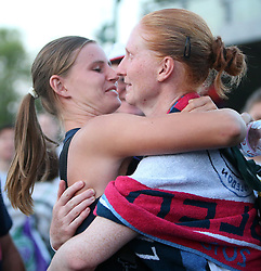 July 5, 2018 - London, GREAT BRITAIN, Angleterre - Great Britain, London, All England Club, Tennis, The Championships Wimbledon 2018 - DAY 4 - 05/07/2018...Belgian  player Alison Van Uytvanck (BEL) is celebrating her victory with her girlfriend Greet Minnen  (BEL) in London, All England Club,  at The Championships Wimbledon 2018 (Credit Image: © Panoramic via ZUMA Press)