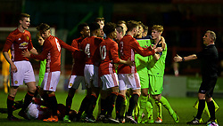 ALTRINGHAM, ENGLAND - Friday, March 10, 2017: Manchester United players Tyrell Warren, DJ Buffonge and George Tanner clash with Liverpool players during an Under-18 FA Premier League Merit Group A match at Moss Lane. (Pic by David Rawcliffe/Propaganda)