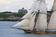 "Newport, RI 2007 - Tallship 'The Pride of Baltimore II"" sails out Narragansett bay during the parade of sail from in Newport for the summer of 2007 Tallships festival."