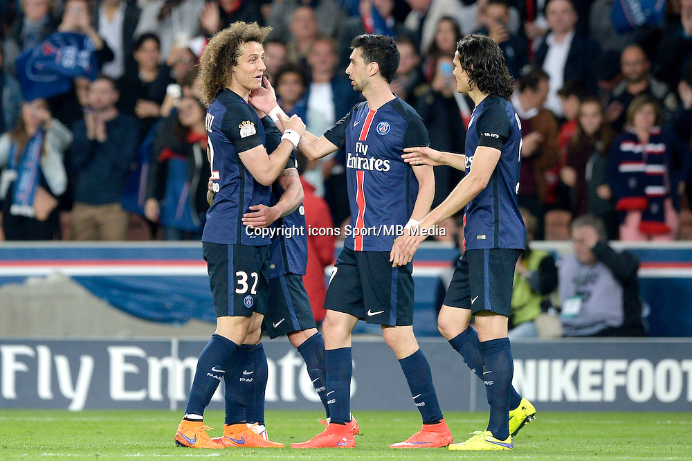joie PSG / David Luiz / Javier Pastore / Edinson Cavani - 23.05.2015 - PSG / Reims - 38eme journee de Ligue 1<br /> Photo : Andre Ferreira / Icon Sport