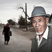Old fisherman in the streets of Moynaq