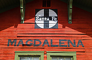 The Santa Fe train depot in Magdalena, New Mexico USA