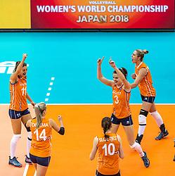 07-10-2018 JPN: World Championship Volleyball Women day 8, Nagoya<br /> Netherlands - Puerto Rico 3-0 / Anne Buijs #11 of Netherlands, Laura Dijkema #14 of Netherlands, Yvon Belien #3 of Netherlands, Maret Balkestein-Grothues #6 of Netherlands