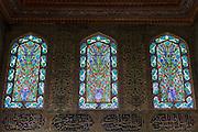Stained Glass windows and Iznik tiles in harem of Privy Chamber of Sultan Murad III, Topkapi Palace, Sarayi, Istanbul, Turkey