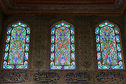 Stained Glass windows and Iznik tiles in harem of Privy Chamber of Sultan Murad III, Topkapi Palace, Sarayi, Istanbul, Turkey