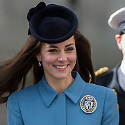 Britain's Catherine, Duchess of Cambridge (c) walks during an event to mark the 75th anniversary of the RAF Air Cadets outside the Royal Courts of Justice in London, Britain February 7, 2016. REUTERS/Neil Hall