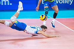 Jani Kovacic of Slovenia diving for a ball during friendly volleyball match between Slovenia and Serbia in Arena Stozice on 2nd of September, 2019, Ljubljana, Slovenia. Photo by Grega Valancic / Sportida