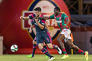 Portugal, FUNCHAL : Benfica's Greek midfielder Samaris(L )  vies with Maritimo's Nigerian forward Maazou   (R ) during Portuguese League football match Maritimo vs S.L. Benfica at Barreiros Stadium in Funchal on January  18, 2015. PHOTO/ GREGORIO CUNHA