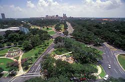 Stock photo of the aerial View Of Hermann Park Entrance And Texas Medical Center During Daytime