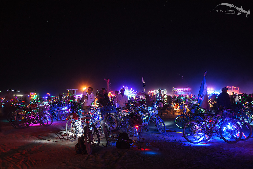 Burners and their bikes. Burning Man 2014.