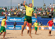 07 December 2006, Brazil's captain Venicius celebrates after scoring against England during the first game of the Vodacom Pro Beach Soccer Tour starts at Durban's Bay of Plenty on Thursday. Brazil won the game 10 - 3. Picture: Shayne Robinson, PhotoWire Africa