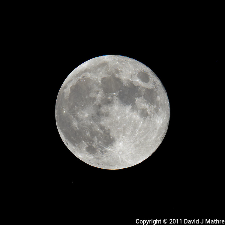 Late Spring Full Moon over New Jersey. Image taken with a Nikon D3x and 600 mm f/4 VR lens (ISO 100, 600 mm, f/16, 1/50 sec) on a Gitzo tripod and Wimberley Head. Raw image processed with Capture One Pro, Focus Magic, and Photoshop CS5