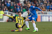 Hartlepool United midfielder Nicky Featherstone and Matty Cash (Midfielder) Dagenham & Redbridge compete for the ball during the Sky Bet League 2 match between Hartlepool United and Dagenham and Redbridge at Victoria Park, Hartlepool, England on 12 March 2016. Photo by George Ledger.