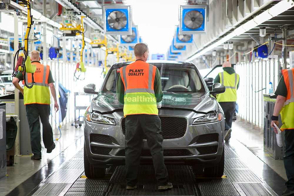 Finished cars are inspected at Jaguar Land Rover's Advanced Manufacturing Facility in Solihull, Birmingham. Picture date: Wednesday March 15th, 2017. Photo credit should read: Matt Crossick/ EMPICS. The Final Assembly facility is the size of 12 football pitches, and sees the final assembly of Range Rover Sport, Range Rover Velar and Jaguar F-PACE cars. Jaguar Land Rover exports 80\% of cars produced in the UK, to over 136 markets worldwide.