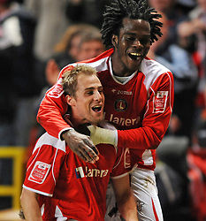 LONDON, ENGLAND - Friday, February 8, 2008: Charlton Athletic's Luke Varney celebrates his goal with Kelly Youga against Crystal Palace during the League Championship match at the Valley. (Photo by Chris Ratcliffe/Propaganda)