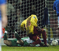 Photo: Jonathan Butler.<br />Watford v Stockport County. The FA Cup. 06/01/2007.<br />Moses Ashikodi of Watford slides in to score.