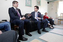 Ed Miliband MP, Leader of the Opposition with candidate Andy Sawford talk to residents of Great Oakley in Mr & Mrs Webb's home, Corby, Northamptonshire, October 30, 2012.  Photo By Tim Scrivener / i-Images