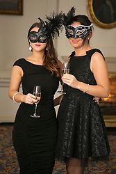 01 November 2013 Erin Mulhall and Katie Deane pictured at the Irish Cancer Society Masquerade Ball in the Shelbourne Hotel. For more information or to support the Irish Cancer Society please visit www.cancer.ie . Picture Andres Poveda