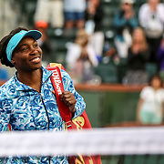 March 11, 2016, Palm Springs, CA:<br /> Venus Williams is introduced on court before a match against Kurumi Nara during the 2016 BNP Paribas Open at the Indian Wells Tennis Garden in Indian Wells, California Friday, March 11, 2016. It was her first return to the BNP Paribas Open in 15 years.<br /> (Photos by Billie Weiss/BNP Paribas Open)