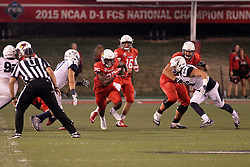 02 September 2017:   James Robinson finds a hole in the middle during the Butler Bulldogs at  Illinois State Redbirds Football game at Hancock Stadium in Normal IL (Photo by Alan Look)