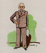 George Lansbury (1859-1940) British Labour (socialist) politician, born in Halesworth, Suffolk. A campaigner for women's suffrage and a founder of the 'Daily Herald' which became the Labour party's official newspaper. Labour Member of Parliament (1922-1940). Grandfather of the actress Angela Lansbury.  From a series of cards on 'Notable MPs' (London, 1929).