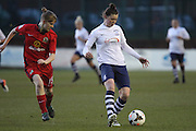 Preston Midfielder Natasha Flint during the FA Women's Lancashire Cup Final match between Preston North End Ladies and Blackburn Rovers Women at the County Ground, Leyland, United Kingdom on 28 April 2016. Photo by Pete Burns.